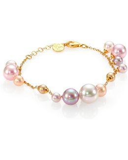 6mm-12mm White, Champagne, Nuage & Rose Round Pearl Charm Bracelet