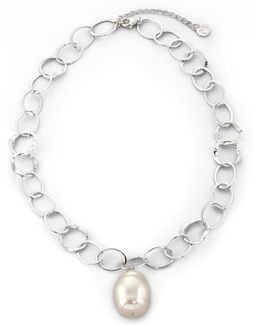 22mm White Baroque Pearl & Sterling Silver Chain Drop Pendant Necklace