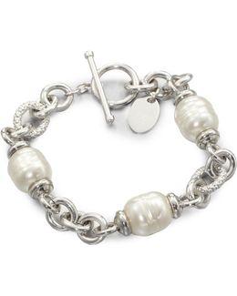 12mm White Baroque Pearl Station Bracelet