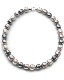 14mm Multicolor Baroque Pearl & Sterling Silver Strand Necklace/20