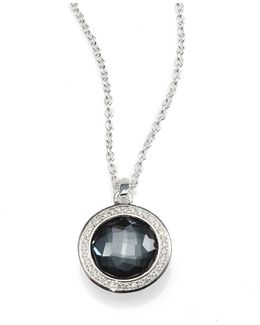 Diamond, Gemstone Doublet & Sterling Silver Round Necklace