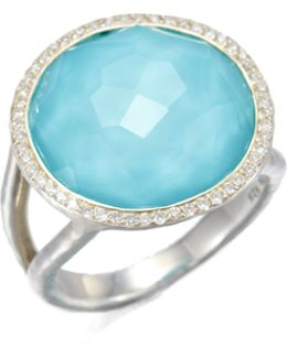 Stella Turquoise, Clear Quartz, Diamond & Sterling Silver Medium Doublet Cocktail Ring