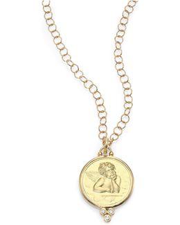Angel Diamond & 18k Yellow Gold Large Pendant