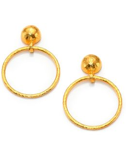 Hoopla 24k Yellow Gold Geometric Geo Drop Hoop Earrings