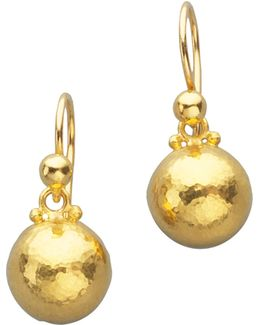 Amulet 24k Yellow Gold Dome Drop Earrings