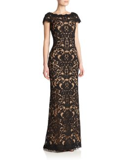 Cord-embroidered Lace Gown