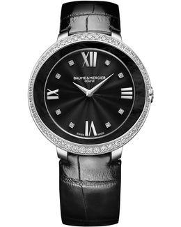 Promesse 10166 Stainless Steel & Alligator Strap Watch