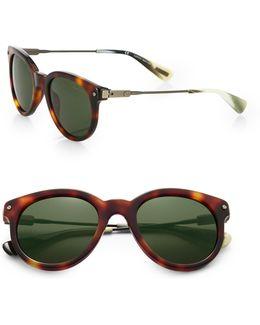 49mm Tortoiseshell Acetate Round Sunglasses