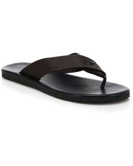 Perforated Leather Flip Flops