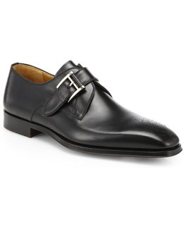 Saks Fifth Avenue By Magnanni Leather Monk-strap Dress Shoes
