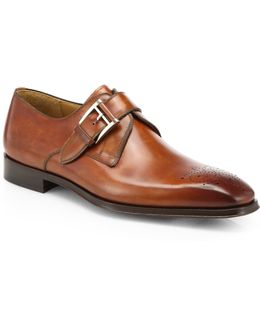Double-buckle Leather Monk Strap Shoes