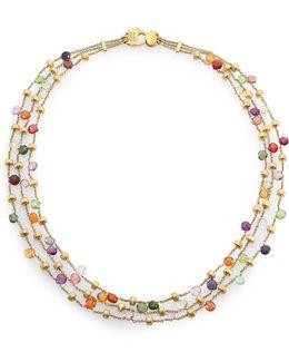Paradise Semi-precious Multi-stone & 18k Yellow Gold Three-row Necklace