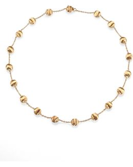 Africa 18k Yellow Gold Ball Station Necklace