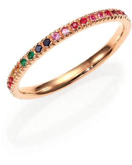 Multicolor Sapphire, Ruby, Emerald & 14k Rose Gold Rainbow Eternity Band Ring