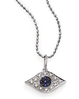 Diamond, Sapphire & 14k White Gold Small Evil Eye Pendant Necklace