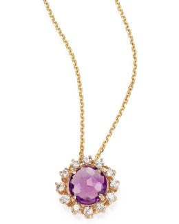 Amethyst, White Sapphire & 14k Yellow Gold Starburst Pendant Necklace