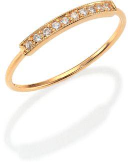 Pave Diamond & 14k Yellow Gold Horizontal Bar Ring
