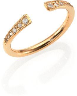 Diamond & 14k Yellow Gold Finger Cuff Ring