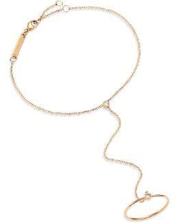 Diamond & 14k Yellow Gold Hand Chain Bracelet