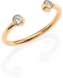 Diamond & 14k Yellow Gold Two-bezel Open Ring