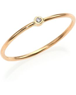 Diamond & 14k Yellow Gold Solitaire Stacking Ring