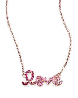 Pink Sapphire, Ruby & 14k Rose Gold Small Ombre Love Necklace