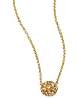 Pave Diamond & 14k Yellow Gold Tiny Disc Necklace