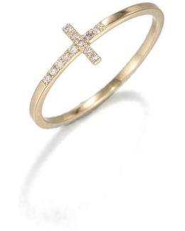 Diamond & 14k Yellow Gold Bent Cross Ring