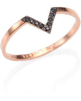 Diamond & 14k Rose Gold Chevron Ring