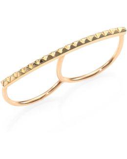 14k Yellow Gold Pyramid Bar Two-finger Ring