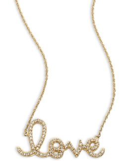 Large Love Diamond & 14k Yellow Gold Necklace