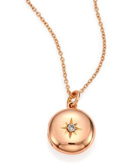 Diamond & 14k Rose Gold Small Astley Locket Necklace