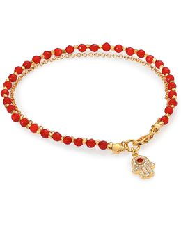 Biography Red Agate & White Sapphire Hamsa Beaded Friendship Bracelet
