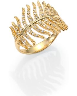 Wings Of Desire Diamond & 14k Yellow Gold Feather Wrap Wing