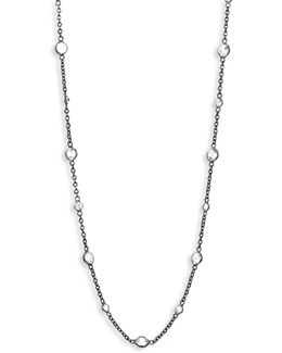 Nectar Night White Sapphire & 18k White Gold Jasmine Long Necklace