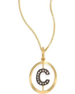 Initial Diamond & 18k Yellow Gold Pendant