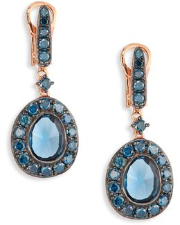 Dusty Diamonds Blue Topaz Drop Earrings