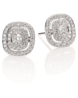 Silhouette Diamond & 18k White Gold Stud Earrings