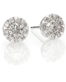 Sunburst Diamond & 18k White Gold Stud Earrings