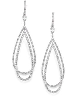 Echo Diamond & 18k White Gold Teardrop Earrings