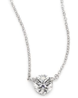 Diamond & Platinum Large Solitaire Pendant Necklace
