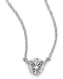 Diamond & Platinum Medium Solitaire Pendant Necklace