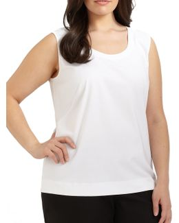 Stretch Cotton Scoopneck Tank Top