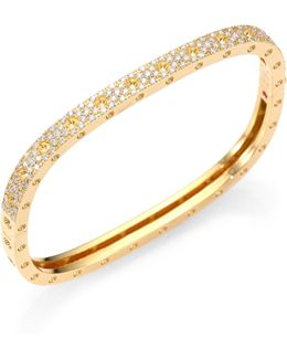 Pois Moi Pave Diamond & 18k Yellow Gold Single-row Bangle Bracelet