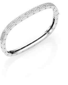 Pois Moi Pave Diamond & 18k White Gold Single-row Bangle Bracelet