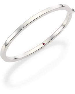 18k White Gold Oval Bangle Bracelet