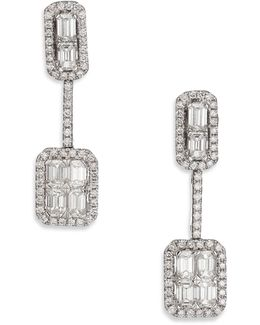 Baguette Deco Diamond & 18k White Gold Drop Earrings