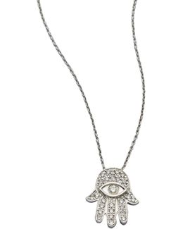 Tiny Treasures Diamond & 18k White Gold Hamsa Pendant Necklace