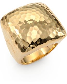 Martellato 18k Yellow Gold Square Cocktail Ring