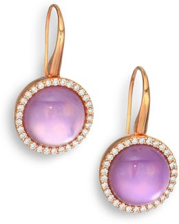 Cocktail Amethyst, Mother-of-pearl, Diamond & 18k Rose Gold Drop Earrings